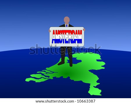 business man standing on map of Netherlands with Amsterdam text sign