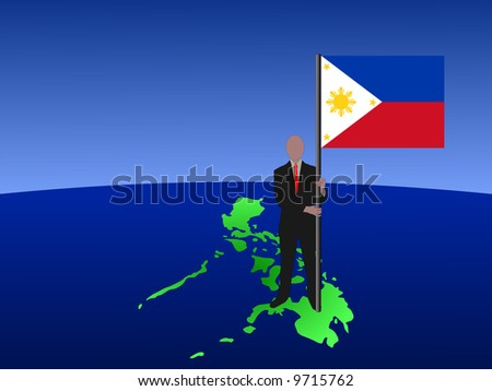 Business Man Standing On Map Of Philippines With Flag