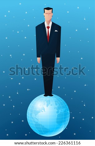 business Man standing on op of the world. - stock vector