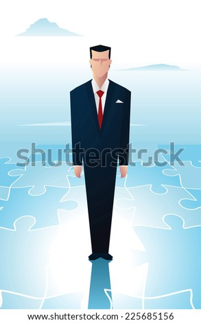 Business man standing over a piece of a puzzle.