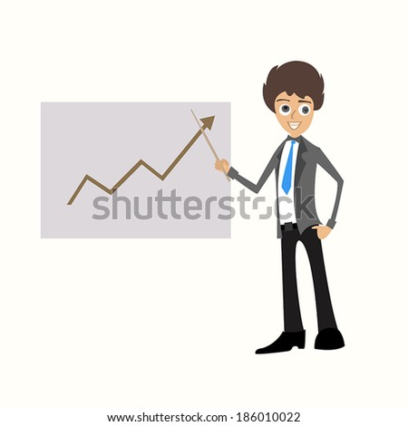 Business man standing pointing at chart - stock vector