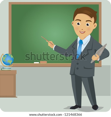 Business man standing pointing at chart and  presentation.