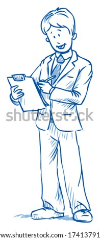 Business man standing with quality check list and smiling, hand drawn vector illustration - stock vector