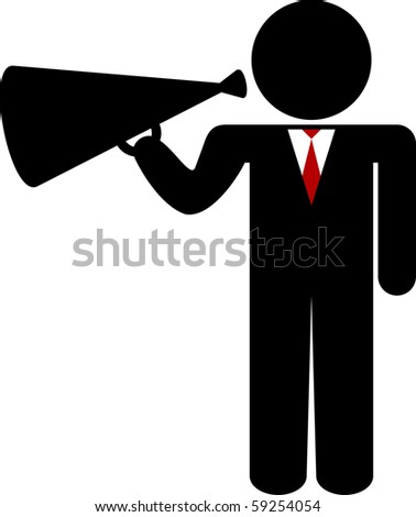 business man stick figure with megaphone - stock vector