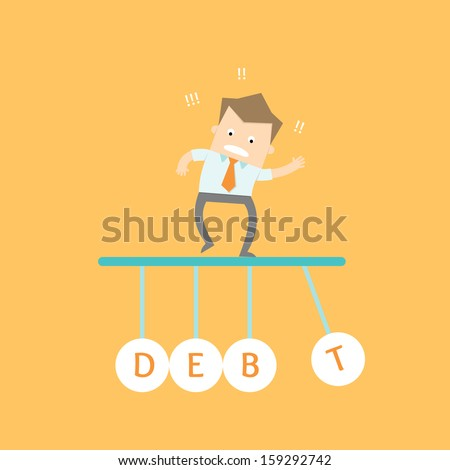 business man stress out debt time due - stock vector