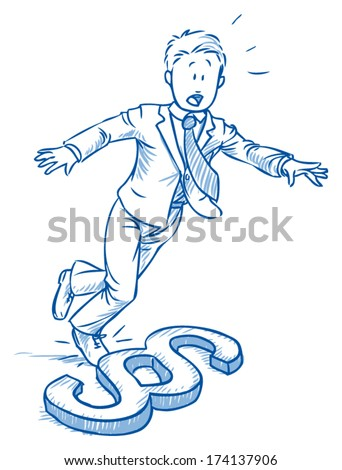 Business man stumbling over paragraph icon,Â?Â? concept of complexity of law,Â?Â? hand drawn vector illustration