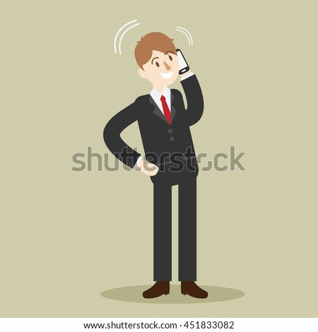 business man talking with smart mobile phone. people with communication. cartoon vector illustration. - stock vector