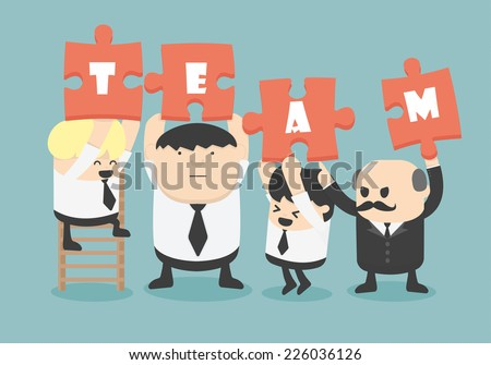 business man team work, Vector - stock vector