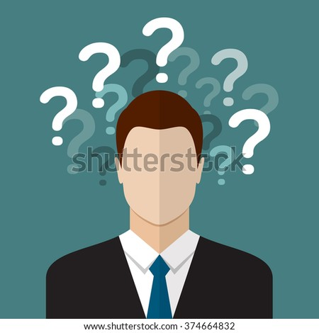 Business man thinking with question marks. Flat style design - stock vector