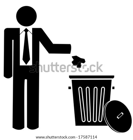 business man throwing garbage into a trash can - no littering - stock vector