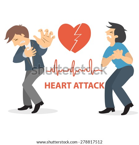 Business man thumbs up with a cramped hand to his heart: He has a heart attack. heart beats cardiogram background - stock vector