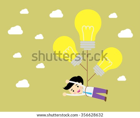 Business man try to catch flying idea. Idea concept flat design, win. flat design. track. Success. goal. Target. Bulb Ideas. finance vision concept. dream. vector. Businessman. air fly sky