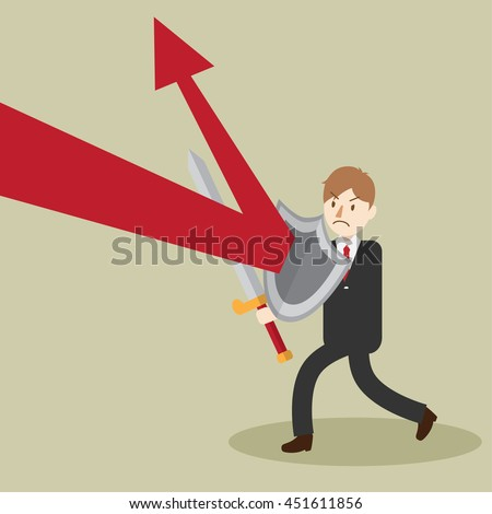 business man use shield to protect. counter attack. reflect effect. cartoon vector illustration
