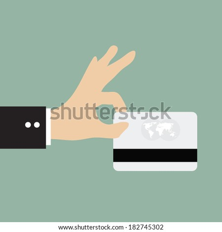Business man using credit card payment  - stock vector