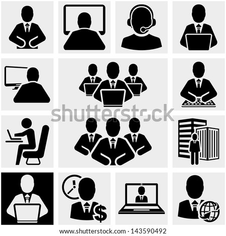 Business man vector icons set on gray. - stock vector