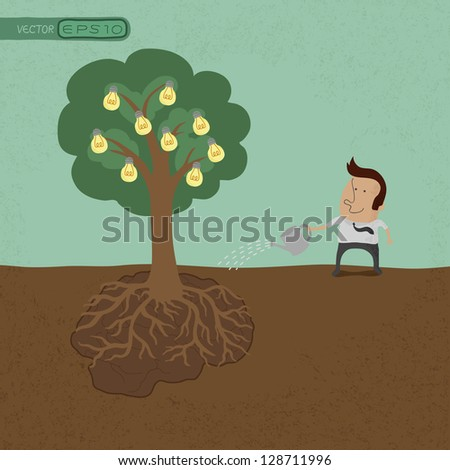 Business man watering idea tree  , eps10 vector format - stock vector