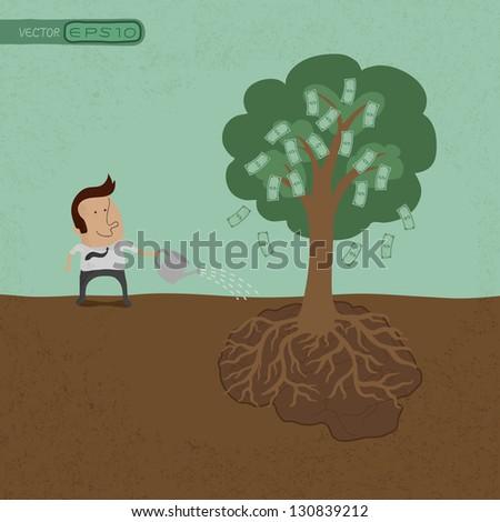 Business man watering money tree  , eps10 vector format - stock vector