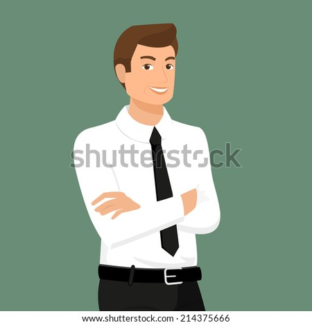 Business man wearing with shirt isolated on green background - stock vector