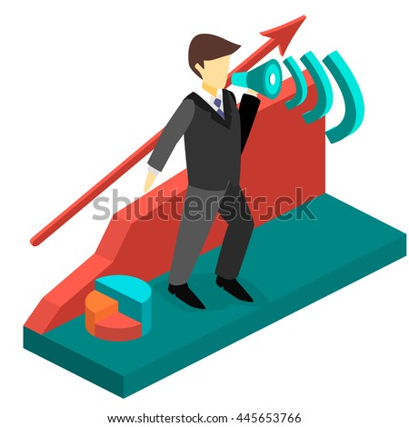 Business man with a megaphone. Isometric 3D illustration.
