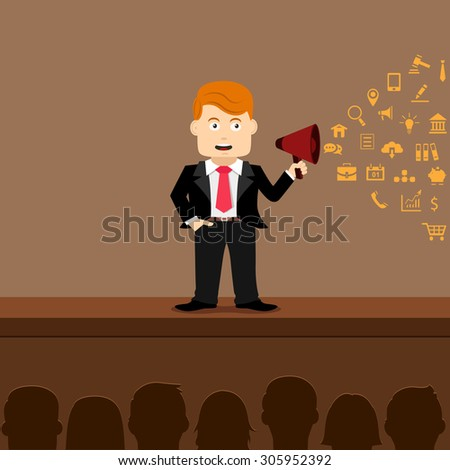 Business Man with a Megaphone or Loudspeaker infographics - Illustration - stock vector