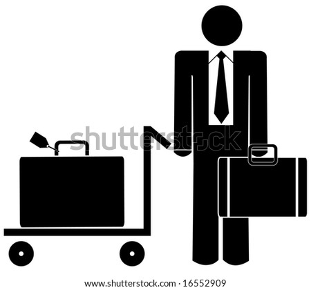 business man with briefcase and luggage on trolley - stock vector