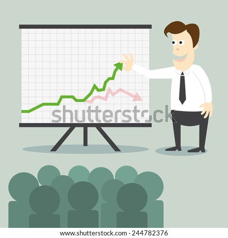 Business man with chart presentation to people - stock vector