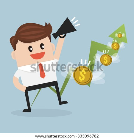 Business man with graph and dollar money. - stock vector