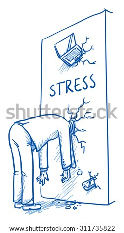 Business man with head stuck in a wall, concept for stress, burnout, headache, depression, hand drawn doodle vector illustration - stock vector