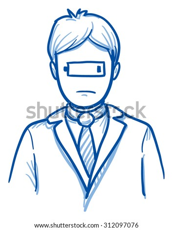 Business man with low battery symbol on his face, concept for stress, burnout, headache, depression, hand drawn doodle vector illustration - stock vector