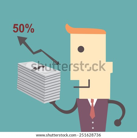 Business man with money , graph  and fifty percent Vector file illustration eps 10 - stock vector