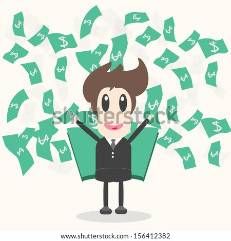 Business Man with money Vector Illustration - stock vector
