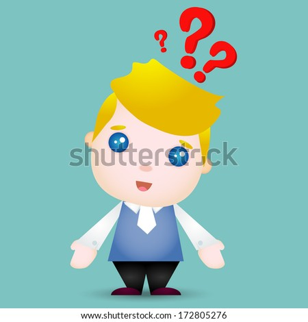 business man with question mark - stock vector