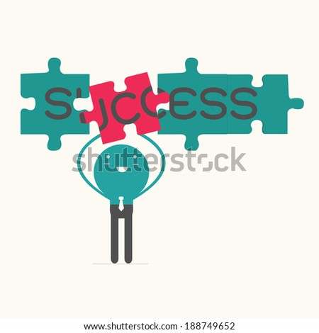 business man with success puzzle,vector,illustration. - stock vector