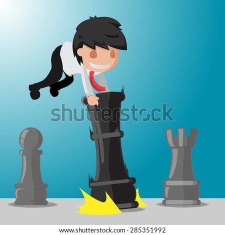 Business Man Worker Plays Game. Chess Vector - stock vector