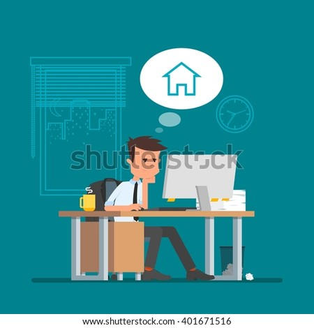 business man working and dreaming about home vector illustration in flat cartoon style office - Back Home Furniture