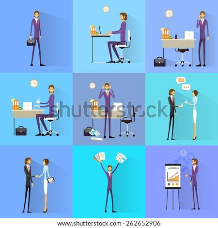 Business man working set office desk flat design vector illustration - stock vector