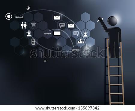 Business man writing business idea concept on black board vector - stock vector