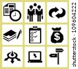 business management, allocation icon set - stock