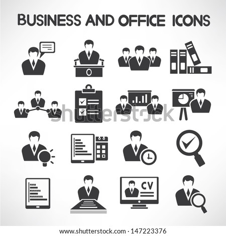 business management and human resource icons set - stock vector