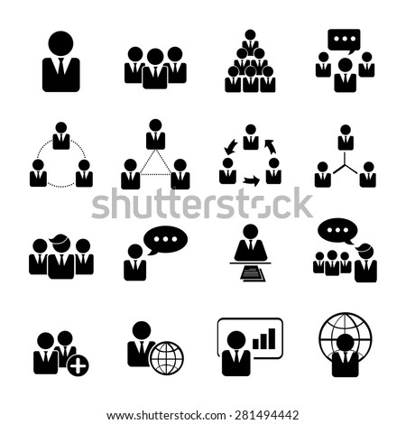 business, management and human resource icons set illustration eps 10 - stock vector