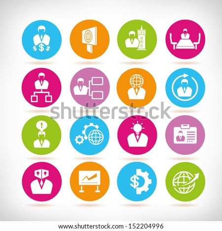 business management and organization icons, round button set