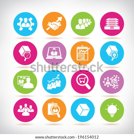 business management and organization management icons, color buttons  - stock vector