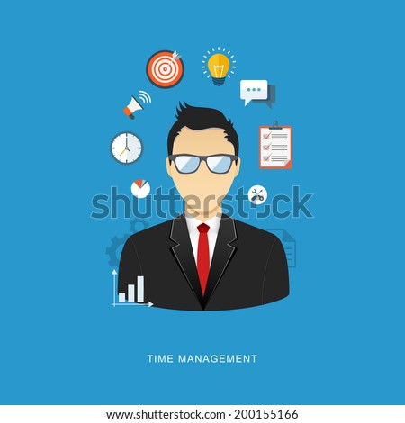 Business management concept flat illustration. Office man with icons. eps8 - stock vector