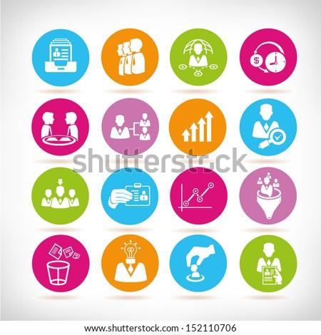 business management concept icons set, round button set - stock vector