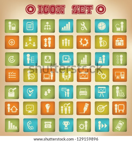 Business,management ,human resource and multimedia icons,vintage style,vector - stock vector