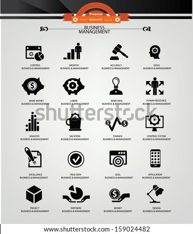 Business Management icons,Black version,vector - stock vector