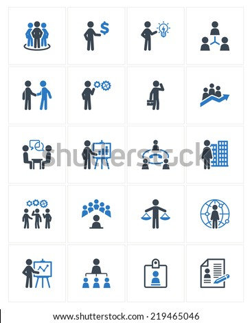 Business Management Icons - Blue Series - stock vector
