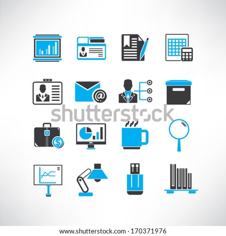 business management icons set, black and blue color theme - stock vector