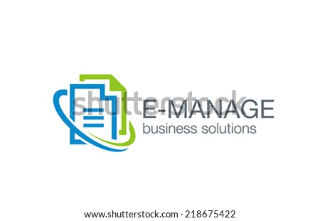 Business management logo design vector template. Web solution circulation system icon. Electronic Digital Document File data transfer concept idea. Corporate Network logotype. - stock vector
