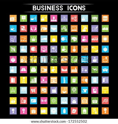 business management, marketing, shipping and industry icons set, flat icons set - stock vector